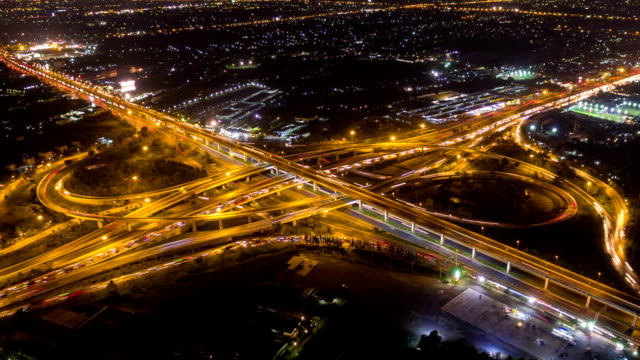 Aerial view of Traffic on Express way in Bangkok ,Thailand