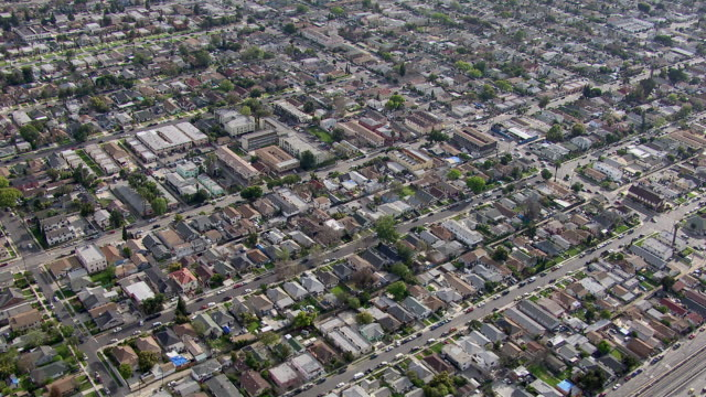 Aerial view of urban landscape in the city of Los Angeles.