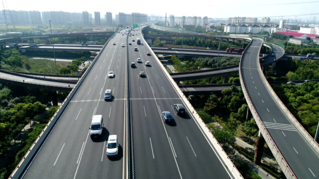 Aerial view of var run on the overpass at Shanghai,China