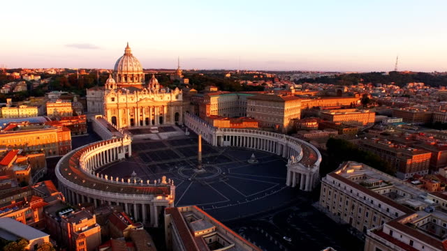 Aerial View of Vatican city at morning