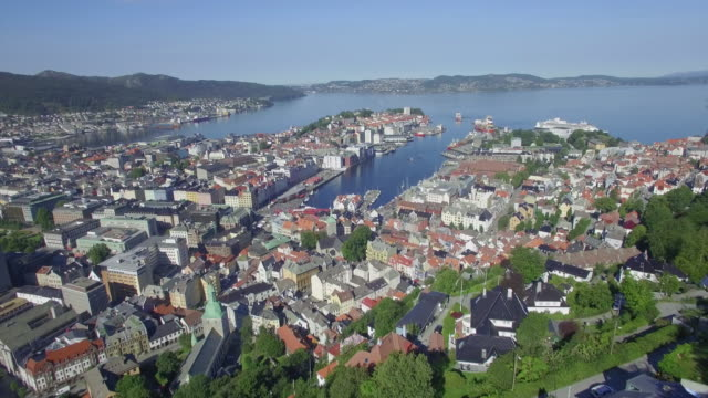 Aerial view of Vågen harbour, Byfjorden fjord and old city from Mount Fløyen (Fløyfjellet), Bergen, Hordaland, Norway, Scandinavia