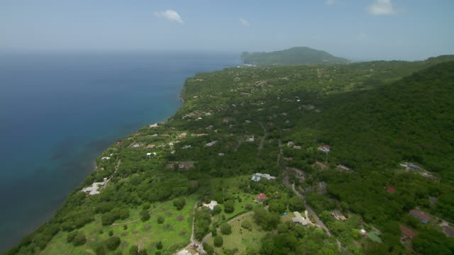 Aerial view of village of St. Peter's on Montserrat Island.