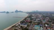 Aerial view of village on seaside