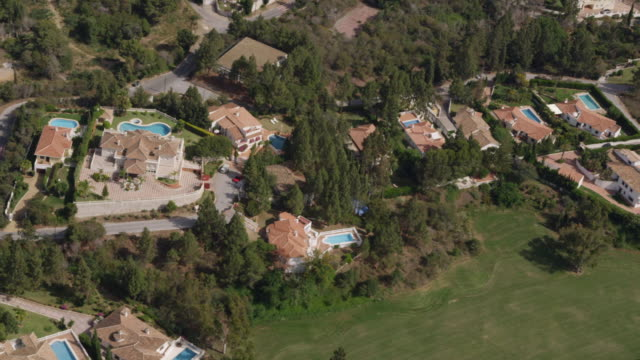 Aerial view of villas along golf course