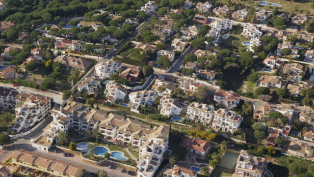 Aerial view of villas on Costa del Sol, eat of Marbella, Andalusia, Spain