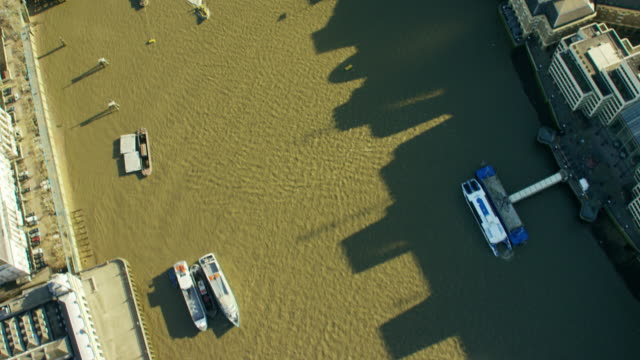 Aerial view of water traffic on River Thames