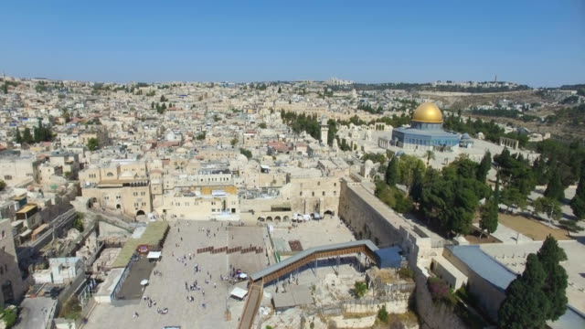 Aerial view of Western wall in the Old City of Jerusalem, with Temple mount, Dome of the rock and Al-Aqsa Mosque .
