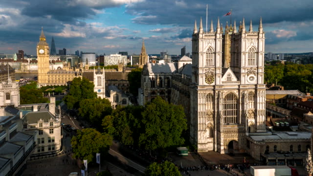 Aerial view of Westminster Abbey at dusk.