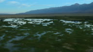 Aerial view of wetlands in the Owens Valley between the Sierra Nevadas and the Inyo Mountain range.