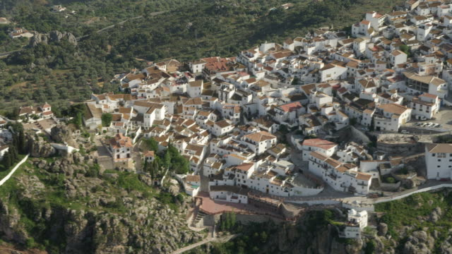 Aerial view of White Village, Comares, Andalusia, Spain