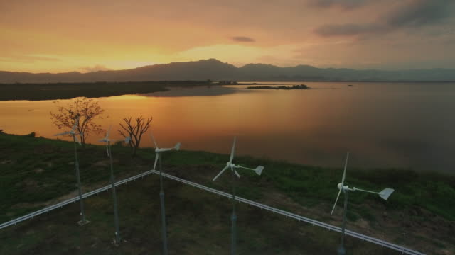 Aerial View Of  Wind Turbines at Sunset,Phayao Lake
