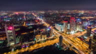 T/L WS HA PAN Aerial View of Wonderful City Scene and Traffic at Night / Beijing, China