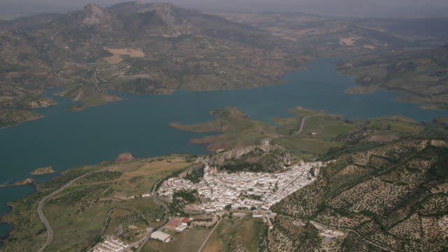 Aerial view of Zahara de la Sierra, Ronda, Andalusia, Spain