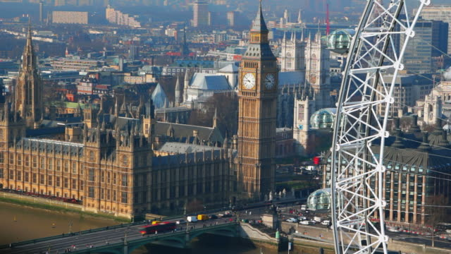 Aerial view on Houses of Parliament and London Eye in London.