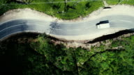 Aerial view on the road on tea plantation in Sri Lanka