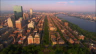 Aerial view over Boston Common, the Public Garden and Commonwealth Avenue Mall / Boston, Massachusetts