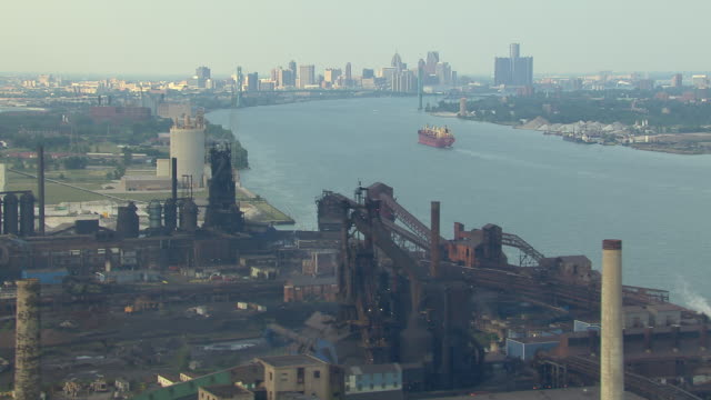 Aerial view over steel mill located just west of Detroit.