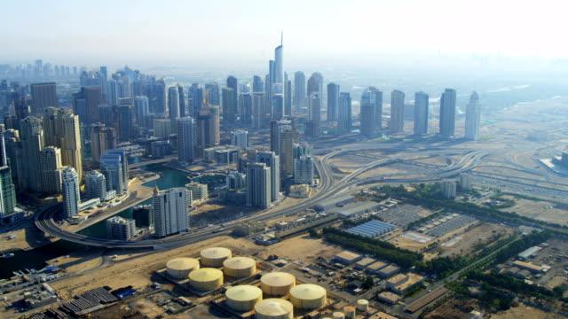 Aerial view Power plant, storage, Dubai