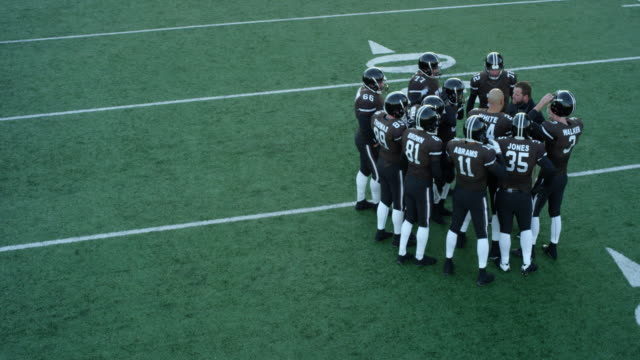 MS TS Aerial view Professional football team discussing play with coach near sideline during timeout