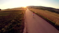 Aerial view Running at Sunset