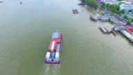 Aerial view shot of containers cargo ship on the river