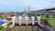 Aerial view shot of Floodgate,Bangkok