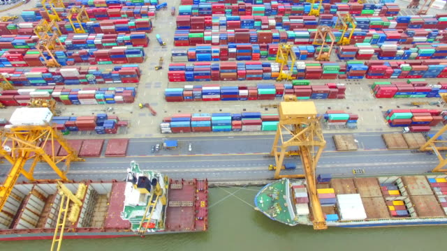 Aerial View Shot of Industrial port with containers ship