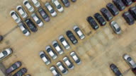 Aerial view shot of new cars for sale