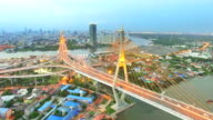 Aerial view shot of the Bhumibol Bridge,Bangkok