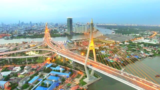 Luftbild Aufnahmen von der Brücke Bhumibol, Bangkok