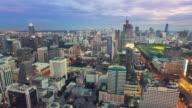 Aerial view shot of the city at night,Bangkok Thailand
