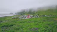 Luchtfoto schot van Vik in IJsland