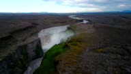 Aerial view shot over the Dettifoss Waterfall in Iceland.