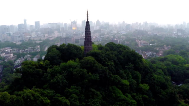 Aerial view skyline,cityscape and pagoda of hangzhou