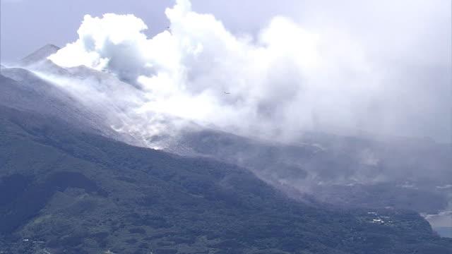 Aerial view Smoke plume coming out of Mount Shindake