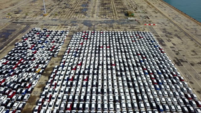 Aerial View, Thousand of new cars for sale at port