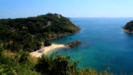 Aerial View Tropical Beach Island Blue Water Sea Ocean Tourists Heaven Vacation
