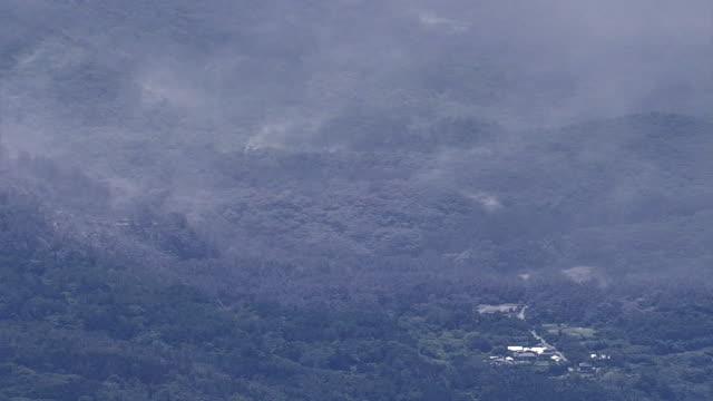 Aerial view Village near the eruption