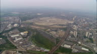Aerial view wide shot construction site for 2012 Olympic Park / East London, England