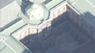 Aerial view zoom out from the old building of Bank of Japan Tokyo Head Office which is historically important architecture registered as one of the...