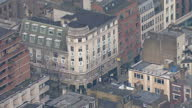 Aerial Views of 8890 Hatton Gardens Safe Deposit Box Ltd with press and police outside after robbery on April 08 2015 in London England