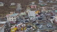 Aerial views of destruction caused by Hurricane Irma in Tortola British Virgin Islands