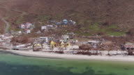 Aerial views of extensive damage caused by Hurricane Irma on Jost Van Dyke British Virgin Islands