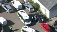 Aerial Views of police and forensics searching farm where the body of Karen Buckley was found on April 16 2015 in Milngavie Scotland