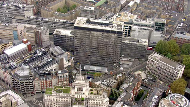 Aerial views of Scotland Yard the headquarters of the Metropolitan Police Service on 3rd November 2015 in London England