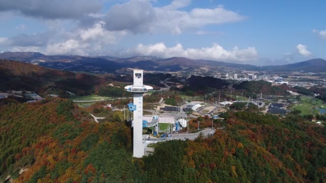 Aerial views of The Alpensia Ski Jumping Stadium the venue for ski jumping events at the 2018 PyeongChang Winter Olympic Games taken above...