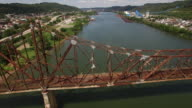 Aerial views of the Bellair Bridge and the Ohio River