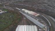 Aerial views of the train storage facility Selhurst Depot during train strikes Surrey UK