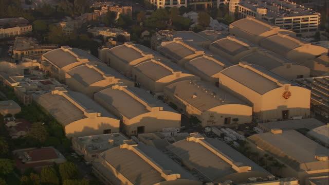 Aerial MS HA TS ZI Warner Bros Studios / Burbank, California, United States