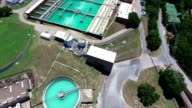 Aerial: Water Treatment Purification Plant long extended version